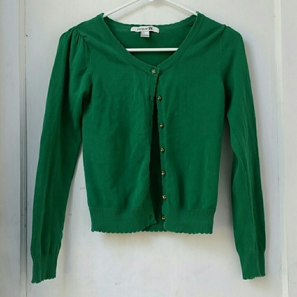 df0c5f391119c7 Forever 21 Sweaters - Forever 21 Green Flower Button Cardigan, Medium